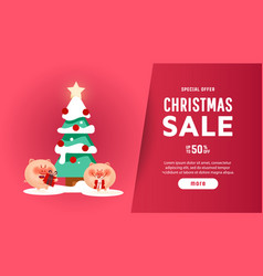 beautiful christmas poster with tree pigs and vector image
