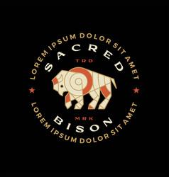 bison buffalo mosaic t shirt vintage badge logo vector image