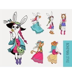 Bohemian fashion girls boho bunny and cats vector