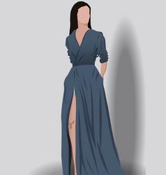 Brunette woman dressed in elegant dark blue dress vector