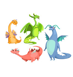 Cartoon cute magic colorful dragons set vector