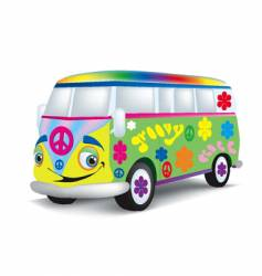 Cartoon hippie bus vector