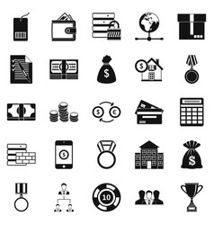 Cash costs icons set simple style vector
