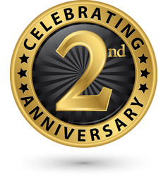 Celebrating 2nd anniversary gold label vector