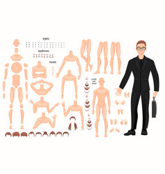 characters set for animation parts of body vector image