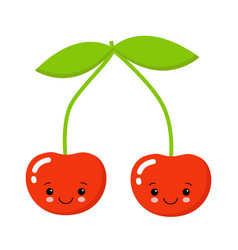cherry cute fruit character isolated on white vector image