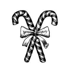 Christmas candy cane sketch vector
