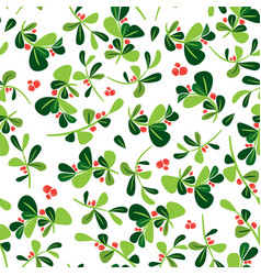 christmas seamless holly berry pattern vector image