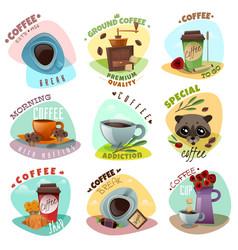 coffee shop emblems set vector image