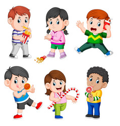 Collection of the children holding their snack vector