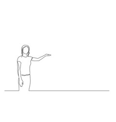 continuous one line woman points to copyspace vector image