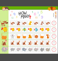 Counting game with cartoon animals vector