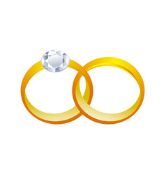 Couple golden rings 3d graphic design vector