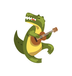 Crocodile playing guitar cartoon animal character vector