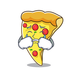 Crying pizza slice mascot cartoon vector
