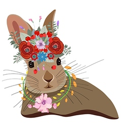 Cute card with lovely Rabbit Rabbit in a wreath of vector image