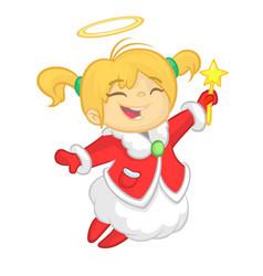 Cute cartoon christmas angel character vector