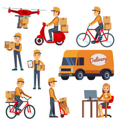 Cute cartoon courier characters vector