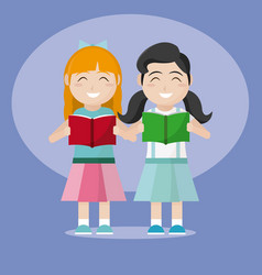 cute girls reading a books vector image
