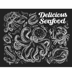 Delicious seafood Hand drawn sketch octopus crab vector image