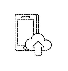 dotted shape smartphone technology with cloud data vector image