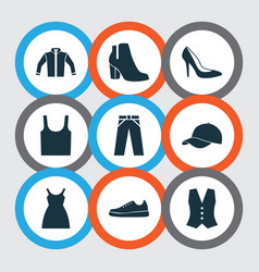 Dress icons set collection of waistcoat trilby vector