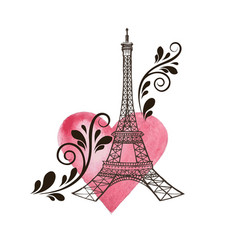 eiffel tower and heart vector image