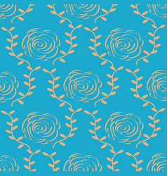 elegant gold rose pattern on blue background vector image