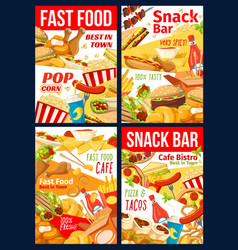 fast food hamburger pizza hotdog and sandwiches vector image