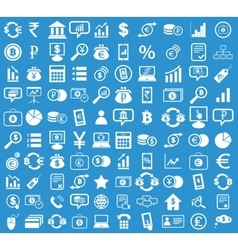 Finance icon set blue vector