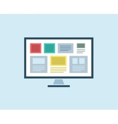 Flat Computer icon isolated PC object or vector image