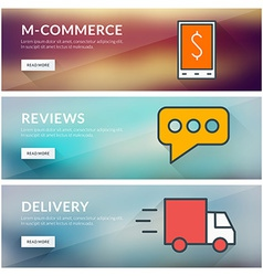 Flat design concept for m-commerce reviews vector