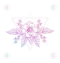 Flowers in hipster triangles vector