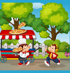 food stall in park vector image