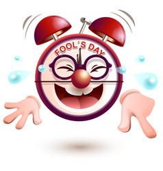 fun clock laughs fools day vector image