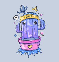Funny cactus in a pot cartoon vector