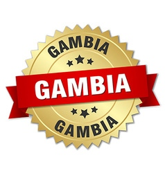 Gambia round golden badge with red ribbon vector