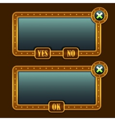 Game steampunk menu interface panels vector image