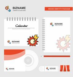 gear logo calendar template cd cover diary and vector image