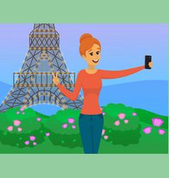 girl traveling in paris and taking selfie vector image
