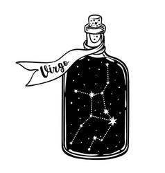 glass bottle with zodiac virgo constellation vector image