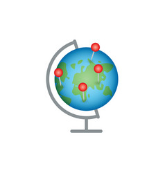 Globe with red markers vector