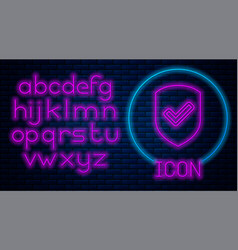Glowing neon shield with check mark icon isolated vector