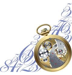 Golden watch inside vector