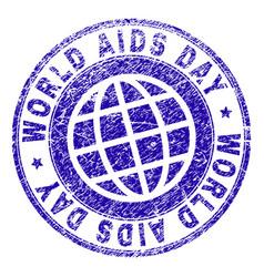 grunge textured world aids day stamp seal vector image
