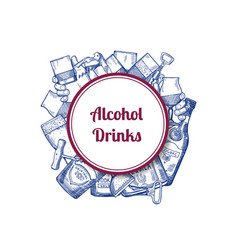 Hand drawn alcohol drink bottles and vector