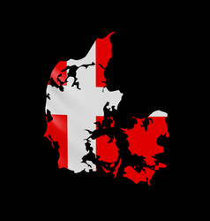 hanging denmark flag in form map kingdom of vector image