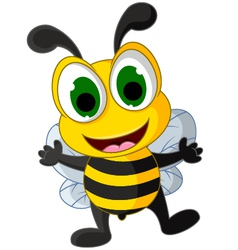 Happy little bee cartoon vector