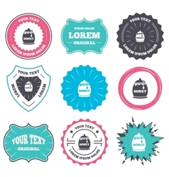Honey in pot sign icon Sweet natural food vector image