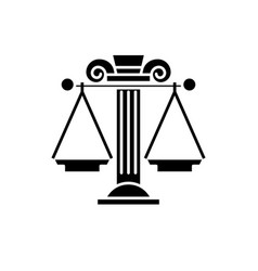 judicial system black icon sign on vector image